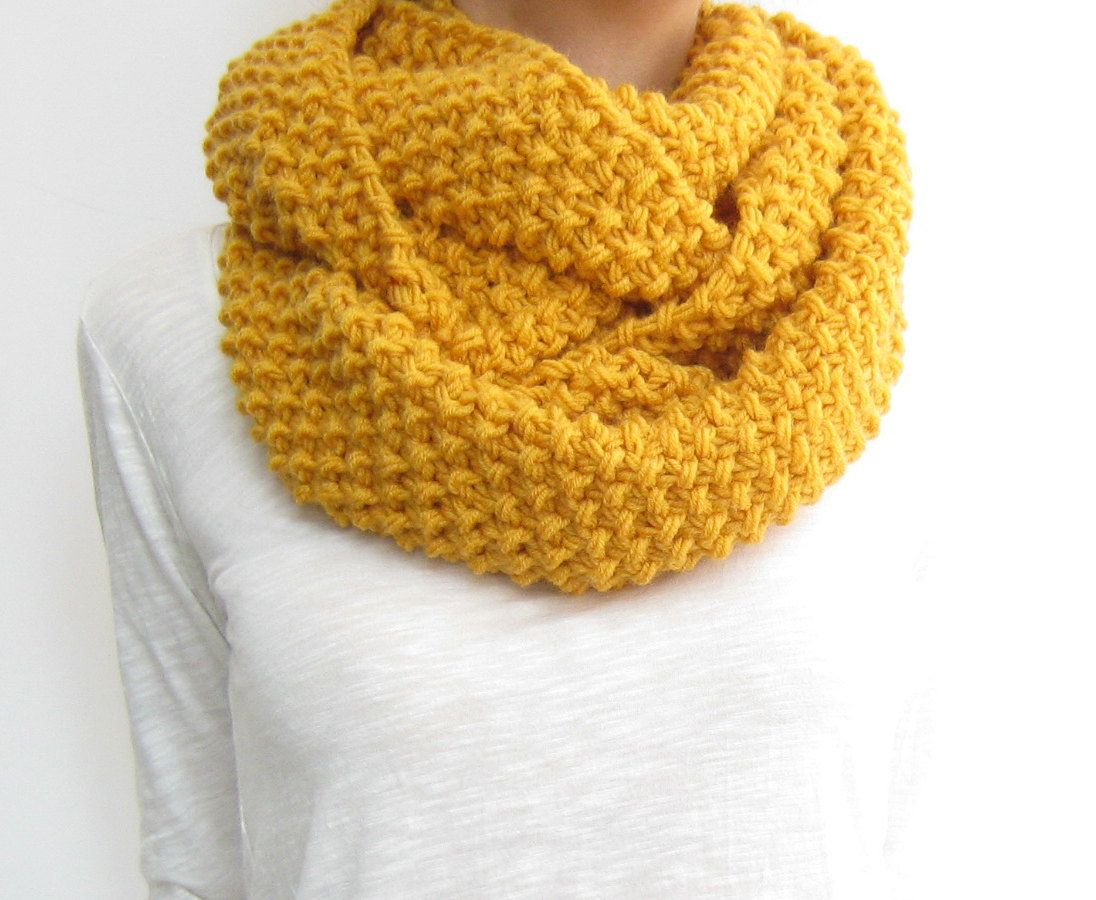 Honey gold infinity scarf, knit loop scarf, yellow snood | scarfs ...