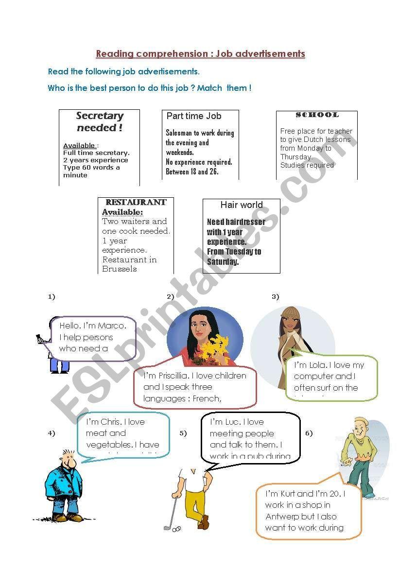 Jobs Reading Advertisements Esl Worksheet By July The Strange In 2021 Job Ads Vocabulary Worksheets Worksheets [ 1169 x 821 Pixel ]
