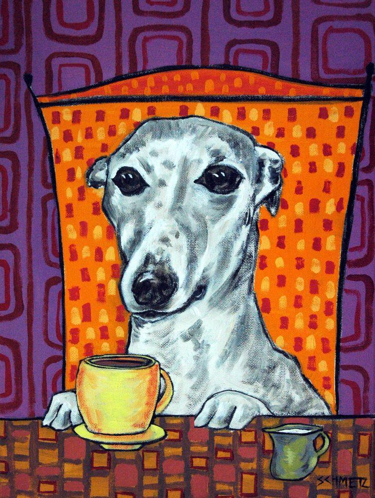 Briard dog art TILE coaster ceramic gift JSCHMETZ modern folk coffee