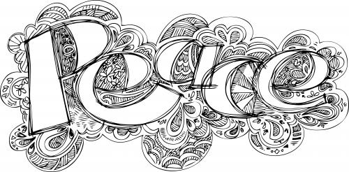 Doodle Coloring Page Peace Art therapy Mandala coloring and