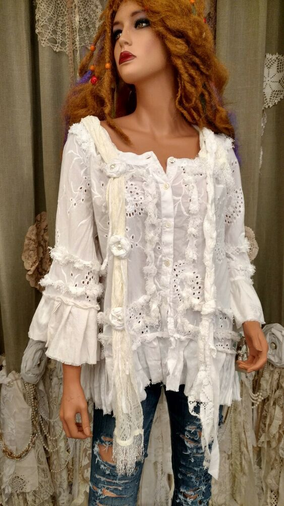3ae7c73df79 UpCycled XL White Cotton Vintage Linen Ruffles Top Lace Scarf Boho Shirt  tmyers #TribalBrandShirtUpcycledby… | The best of my bags and creations  tmyers in ...