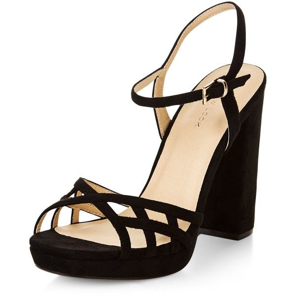 1e31b50a8a68 New Look Black Suedette Strappy Block Heel Sandals (£25) ❤ liked on  Polyvore featuring shoes