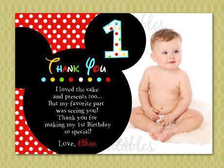 Mickey Mouse Thank You Card Jakobe S 1st Birthday Pinterest