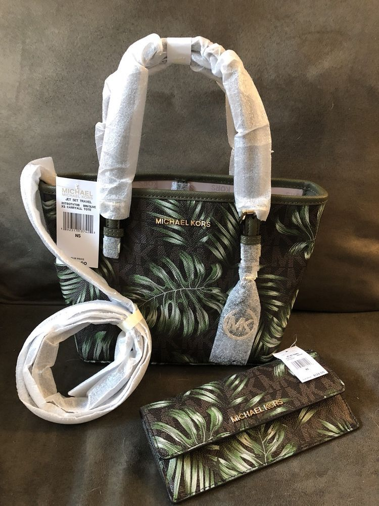 af561dae3bd1 Michael Kors Jet Set Travel XS Carryall Tote And Wallet In Palm Leave  AUTHENTIC