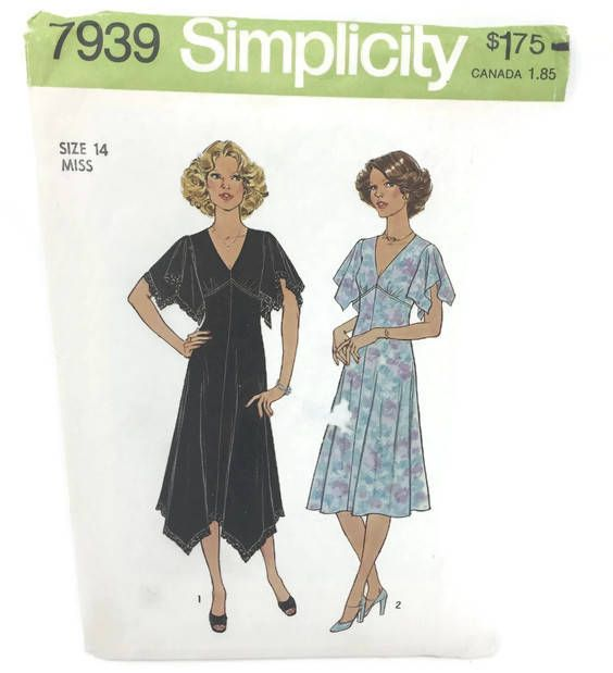 Vintage Simplicity 7939 Misses Dress in Two Variations, Misses Size ...