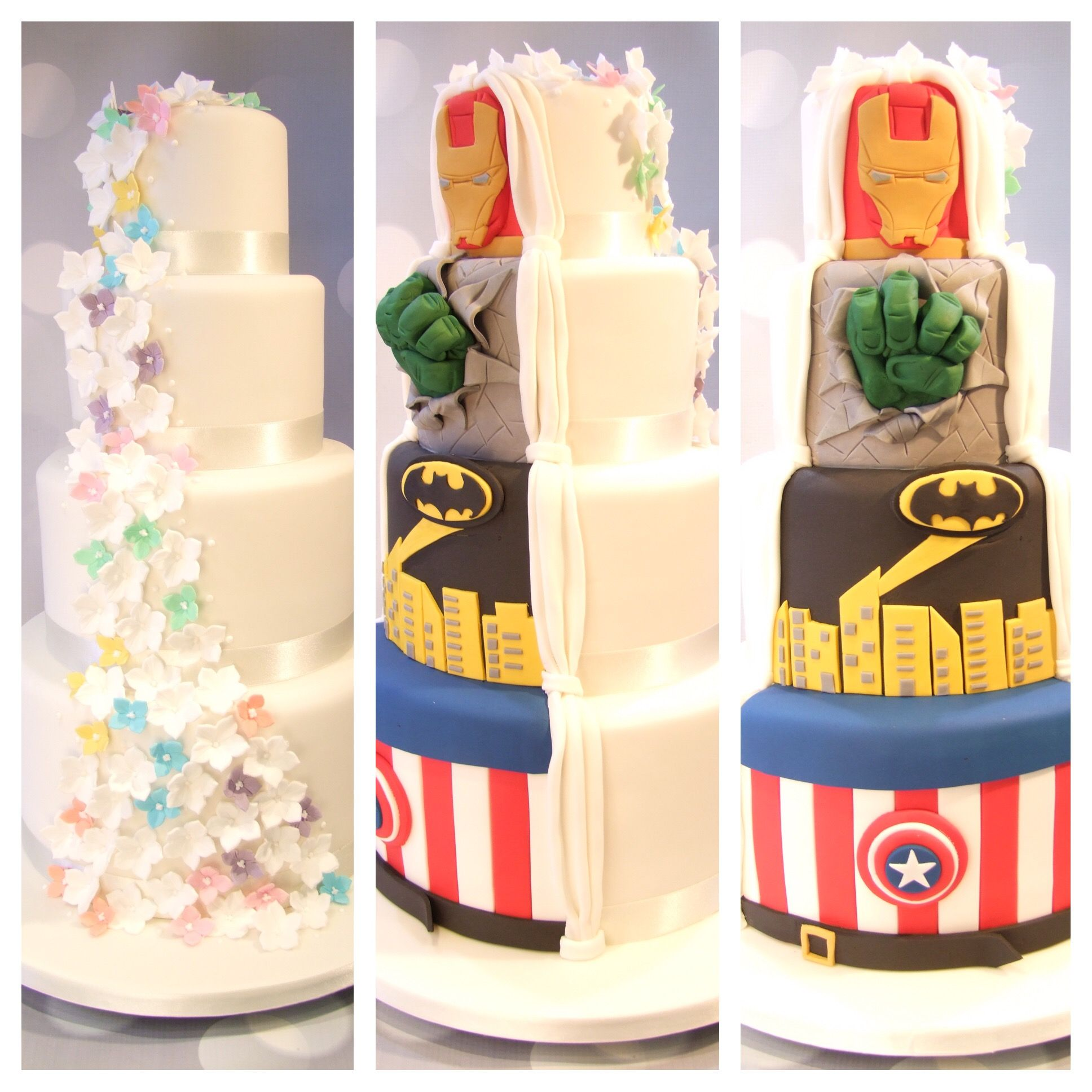 Split Superhero Cake Blossom cascade traditional quirky hidden