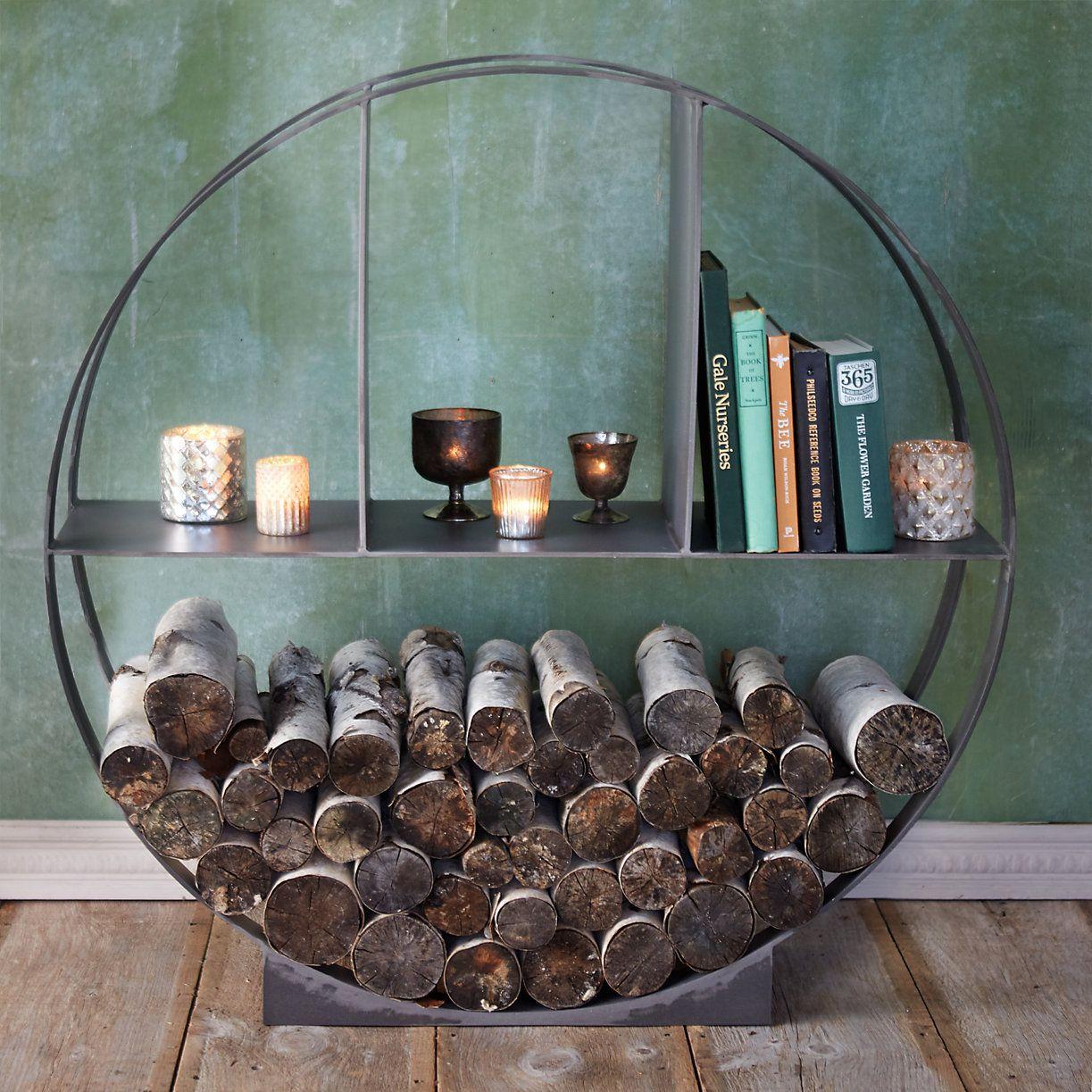 iron circle log holder firewood