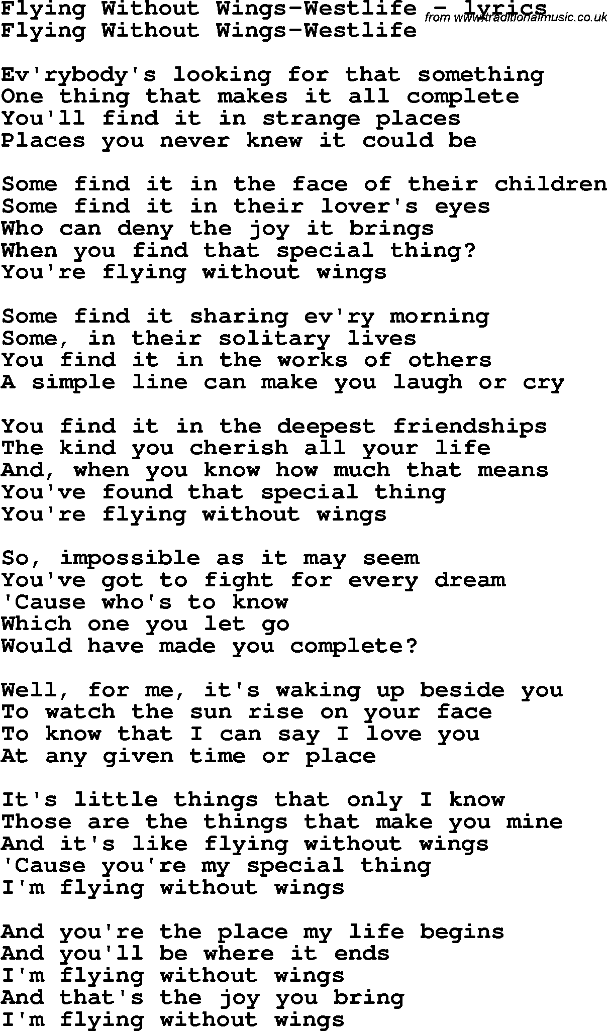 westlife my love lyrics pdf