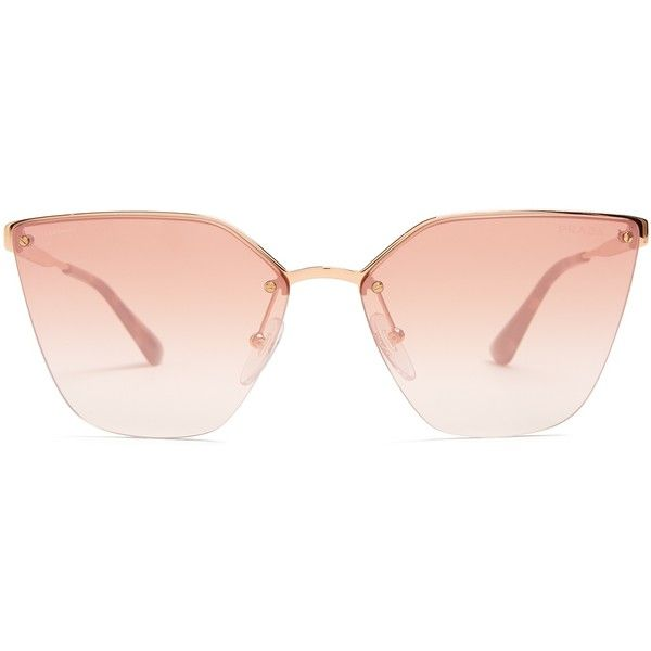 bee25e9d1056 Prada Eyewear Mirrored cat-eye metal sunglasses ( 276) ❤ liked on Polyvore  featuring accessories