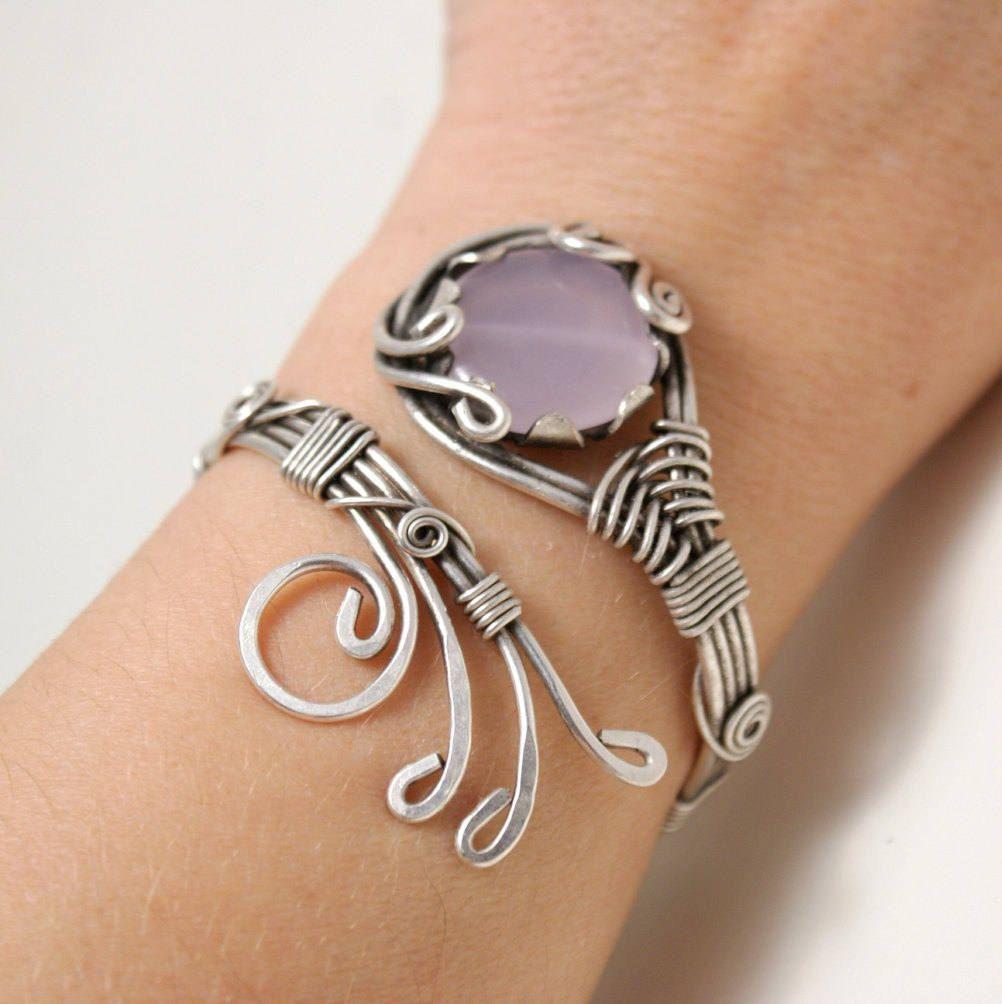 Rose Quartz Bracelet Wire Wred Cuff Silver Jewelry Stone Handmade