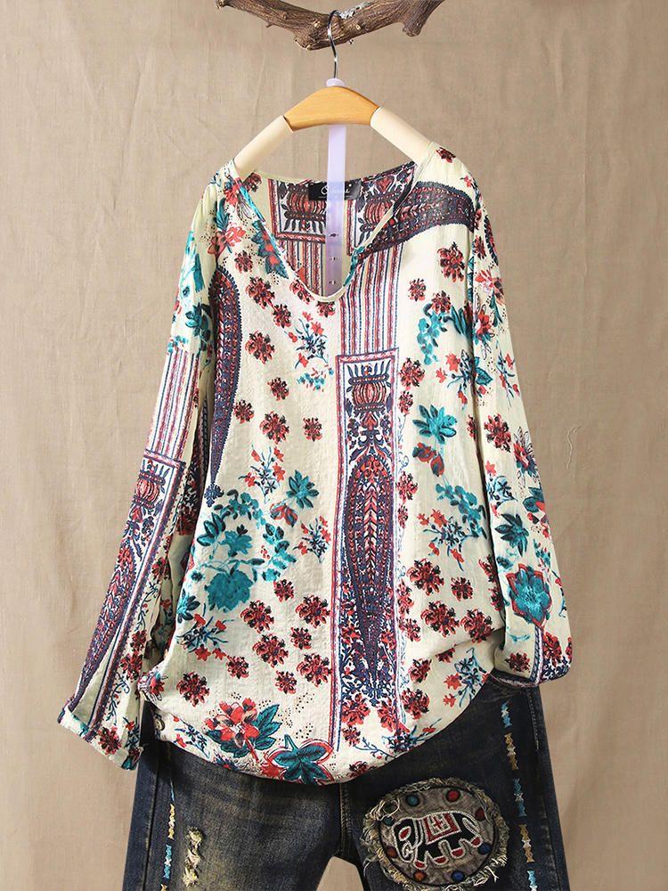 Women Plus Size Vintage Floral Print V-Neck Blouse 7