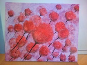 Field of flowers, abstract flowers made by using a sponge.