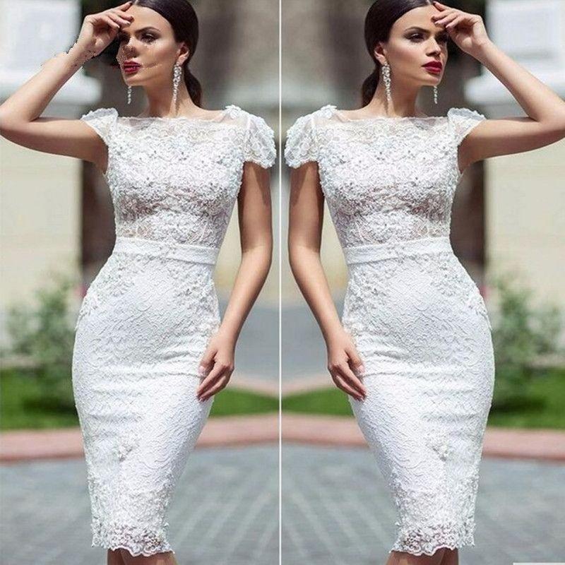 782c6c199f Aliexpress.com  Comprar Alta moda Vestidos de Cóctel largo Blanco Elegante  Sirena de Encaje de Flores Vestidos de Fiesta Vestido Corto 2016 vestidos  de ...