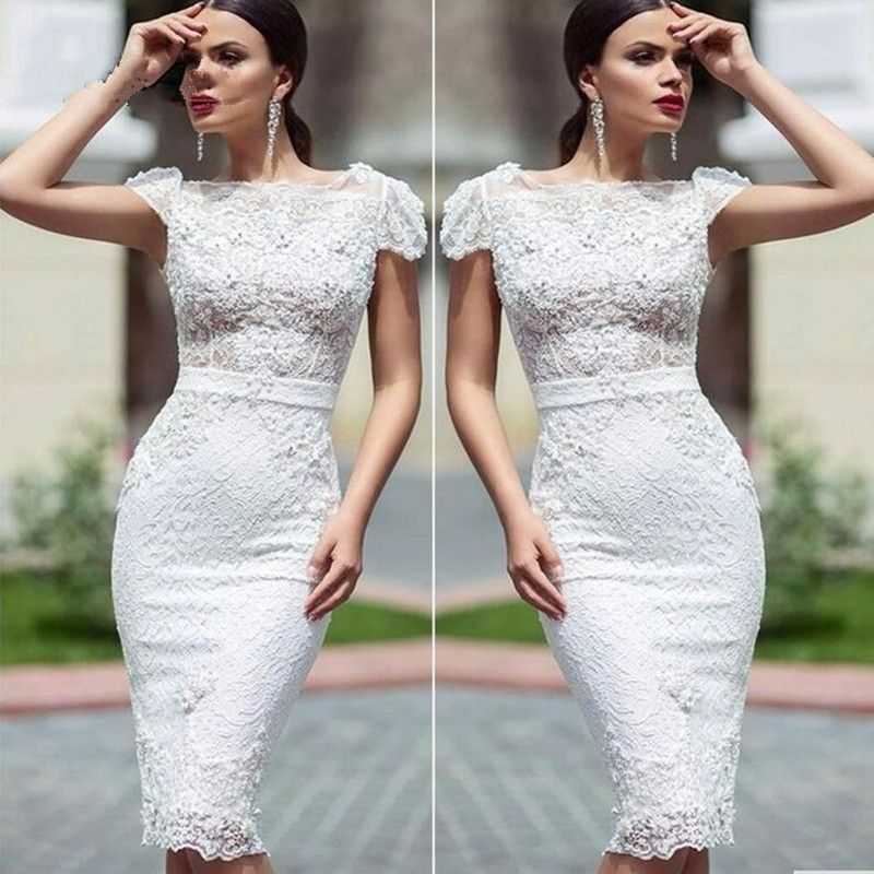 Aliexpress.com  Comprar Alta moda Vestidos de Cóctel largo Blanco Elegante  Sirena de Encaje de Flores Vestidos de Fiesta Vestido Corto 2016 vestidos  de ... 9a0b38adc9a1