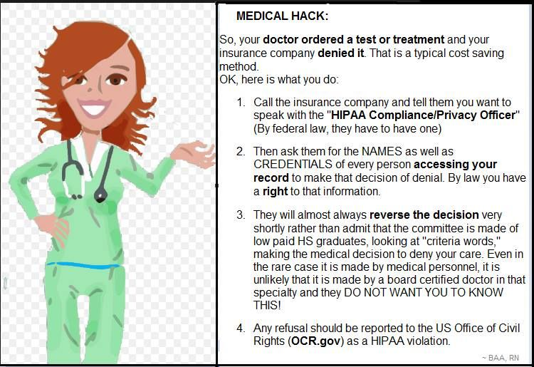 Medical Hack When Denied Coverage By Health Insurer Beth Anne