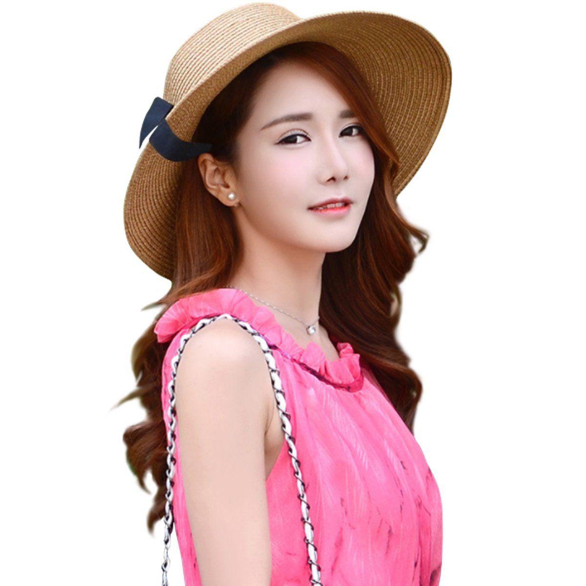 436e3f4f080aa  12.99 Lanzom Women Wide Brim Straw Panama Roll up Hat Fedora Beach Sun Hat  UPF50+ (Blue) at Amazon Women s Clothing store