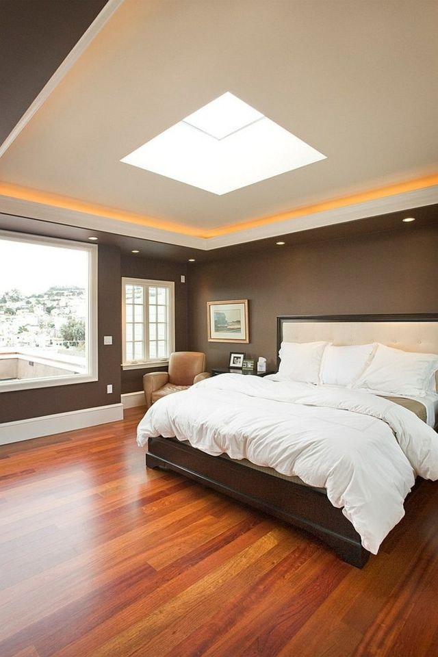 Chambre à Coucher Moderne En Orange Et Marron