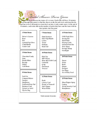 Slobbery image with regard to free printable bridal shower games what's in your purse