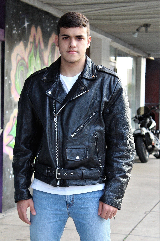Mens Leather Biker Jacket in 2020 Mens leather jacket