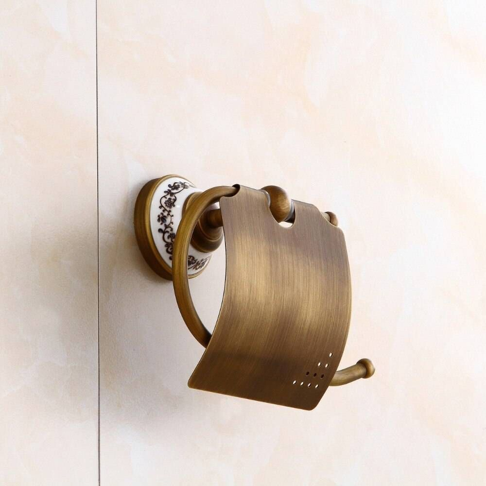 Paper Holders Ceramics Antique Brass Paper Holder Tissue Roll Holder Wall Mounted Construction Bathroom Access In 2020 Bedding And Bath Bathroom Accessories Bath Shelf