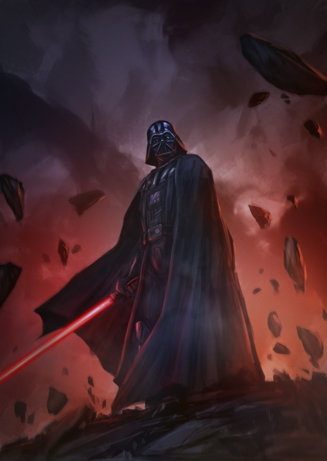 Darth Vader using a lightsaber. Art by Fadly Romdhani. See the top-10 Star Wars art of December 2016 here.