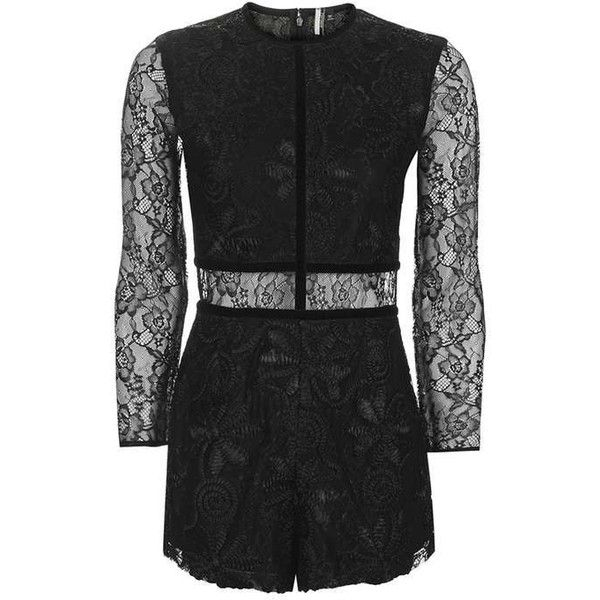 d14ef335fb1 Topshop Cornelli Lace Playsuit ( 43) ❤ liked on Polyvore featuring jumpsuits