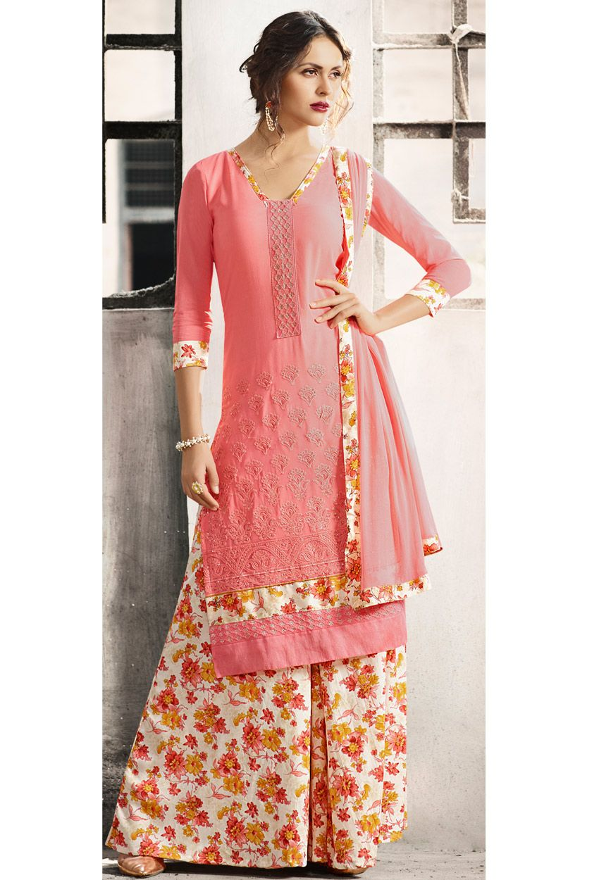 c18aa009518  Peach  Georgette  Palazzo  Suit  nikvik  usa  designer  australia  canada   freeshipping  dress  suits  pakistani