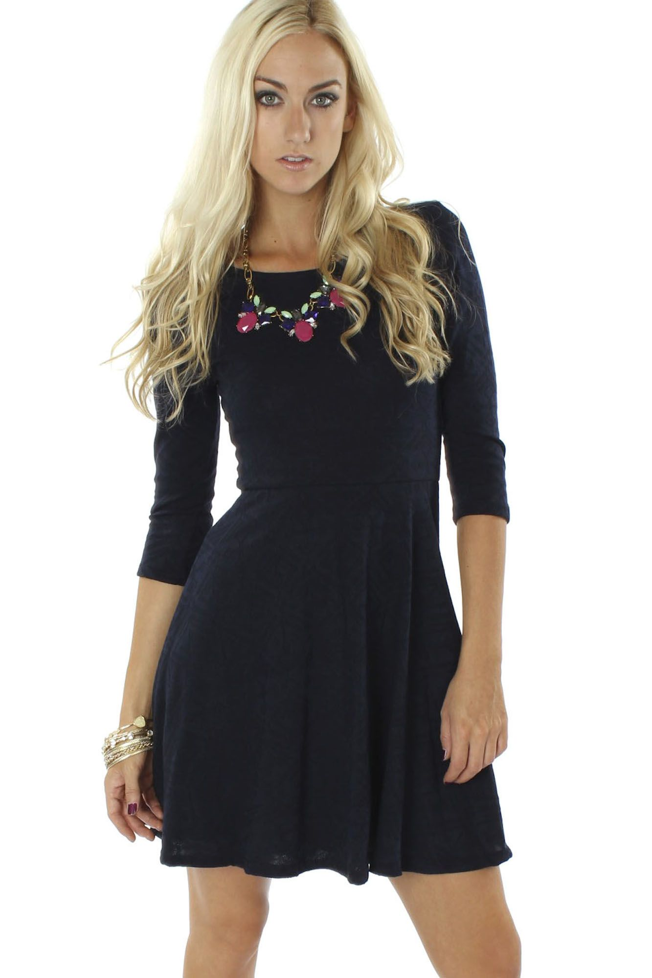 Textured Flare Dress Navy $39.99 #sophieandtrey #dresses #casualdress #quartersleeve #fitnflare #textured
