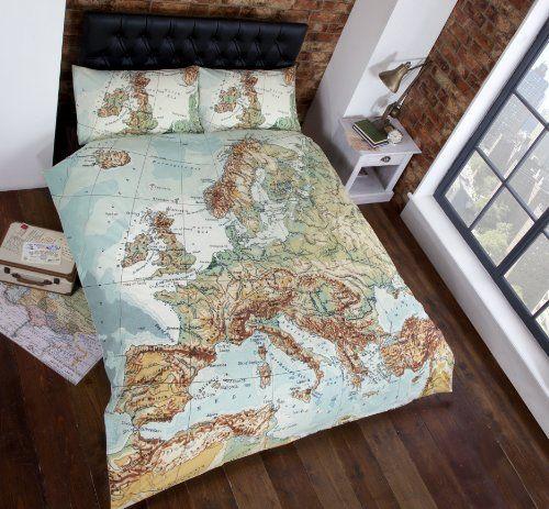 vintage maps panel duvet cover quilt bedding set double world map in blue