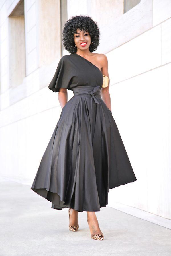 0e23a54fab5953 One Shoulder Top + Belted Front Slit Skirt