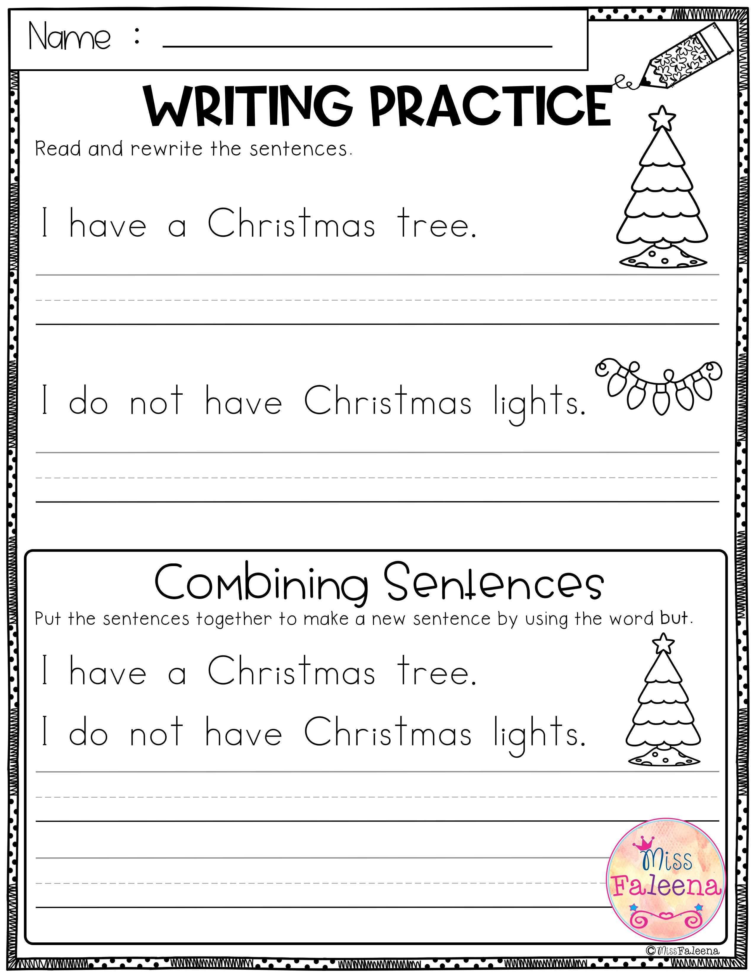 December Writing Practice Combining Sentences