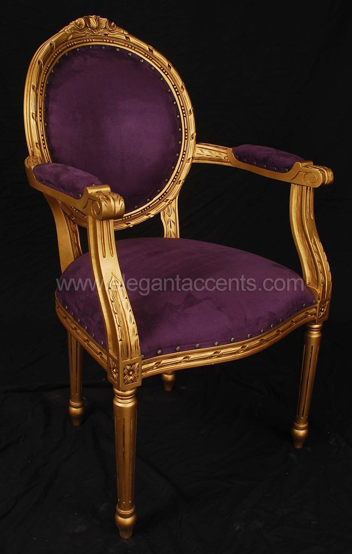 Lxvi Arm Chair 345 Gold Paint With Purple Velour Classic Chair Armchair Elegant Chair