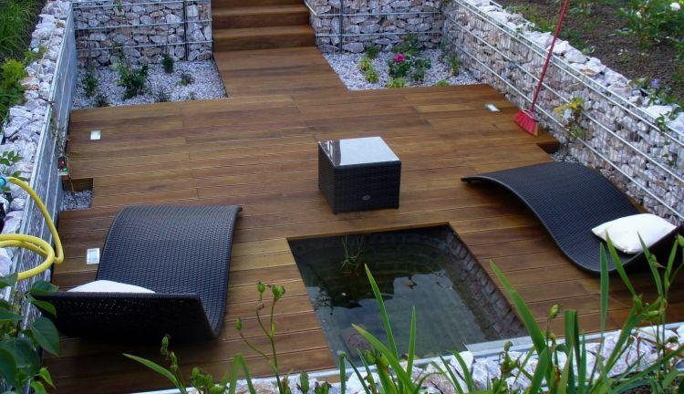 gabionenwand-gabionenzaun-moderne-gartengestaltung-terrasse-lounge - gartengestaltung mit holz