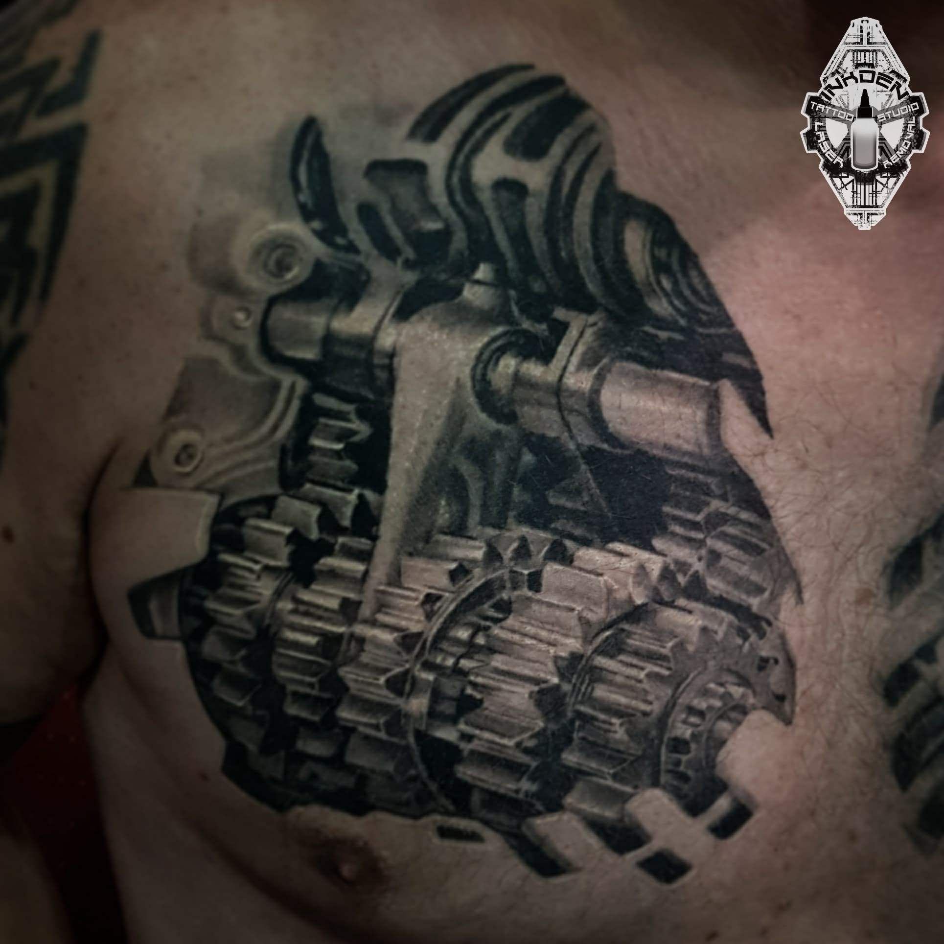 Pin by on ink Biomechanical tattoo, Tattoos, Chest