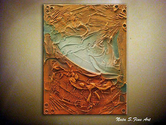 Summer SALE Abstract Textured Painting on Canvas Orange Original
