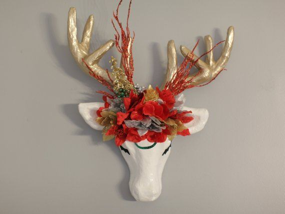 Christmas Faux Taxidermy Paper Mache Deer Head Flower Crown Wall