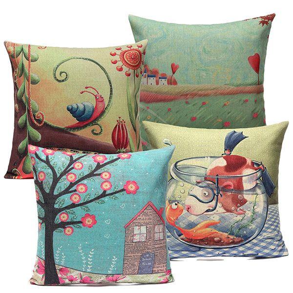 Pretty Bird and Flower Pillow Case Home Soft Decor Cushion Cover