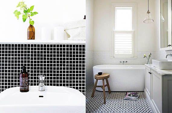 Azulejos en blanco y negro para el cuarto de ba o ba os for Azulejo de piso de bano blanco y negro