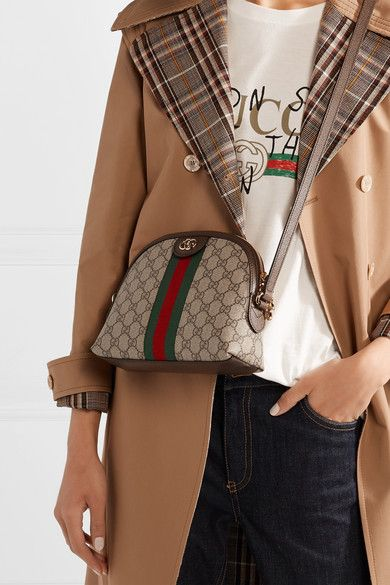 ea9daa8f9f Gucci - Ophidia leather-trimmed printed coated-canvas shoulder bag ...