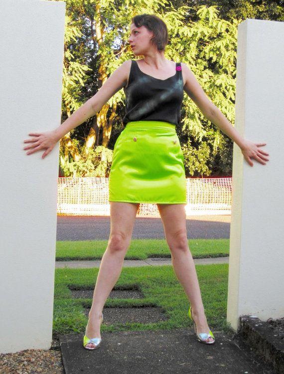 High Waist Neon Skirt Satin Yellow Fluro Heart by StrikingKittens