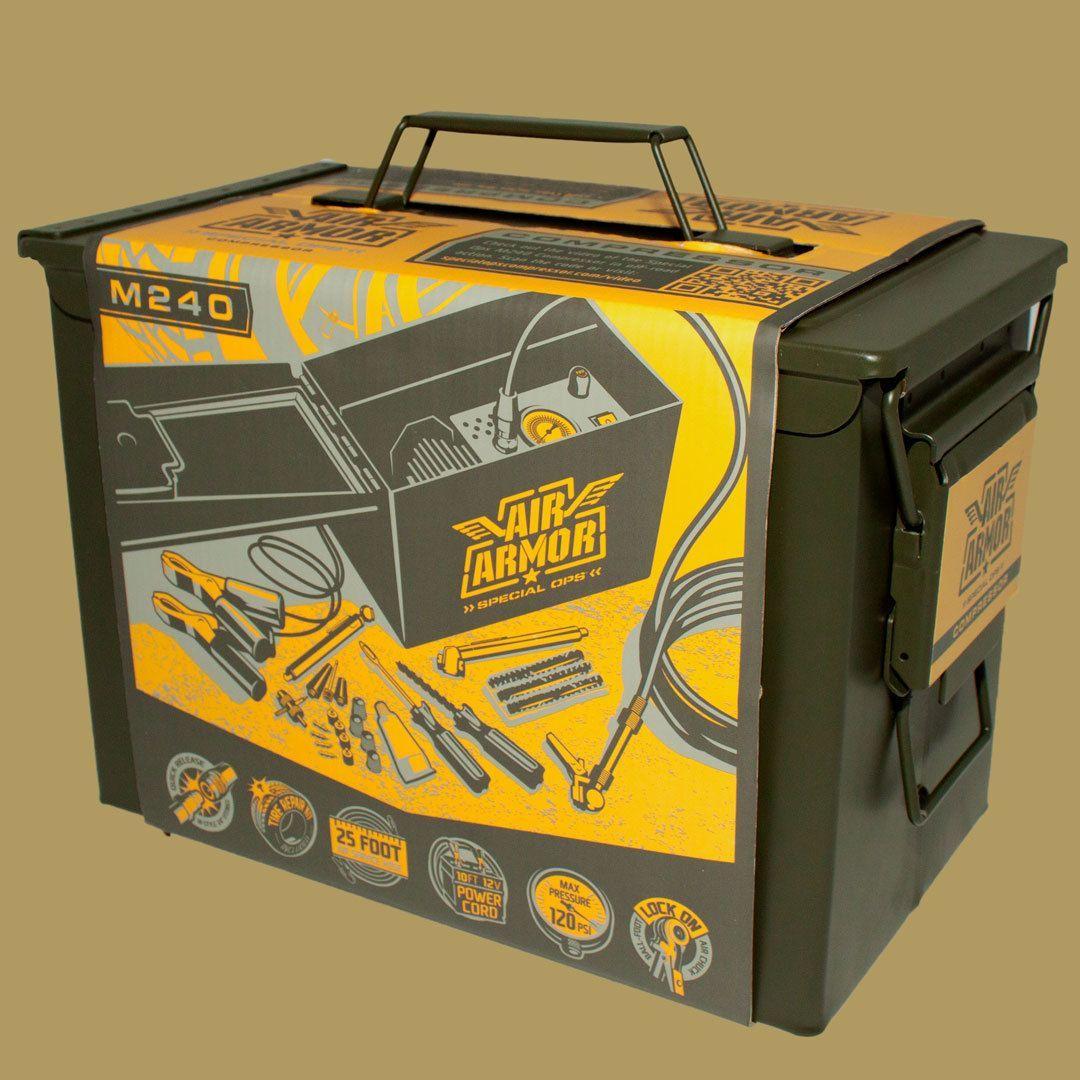 Tire Inflator Air Armor M240 Ammo cans, Portable air