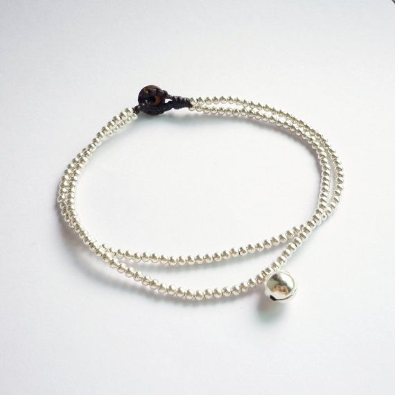 Silver Line Beads Anklet  Double Strands of Silver by HipCrafts, $9.99