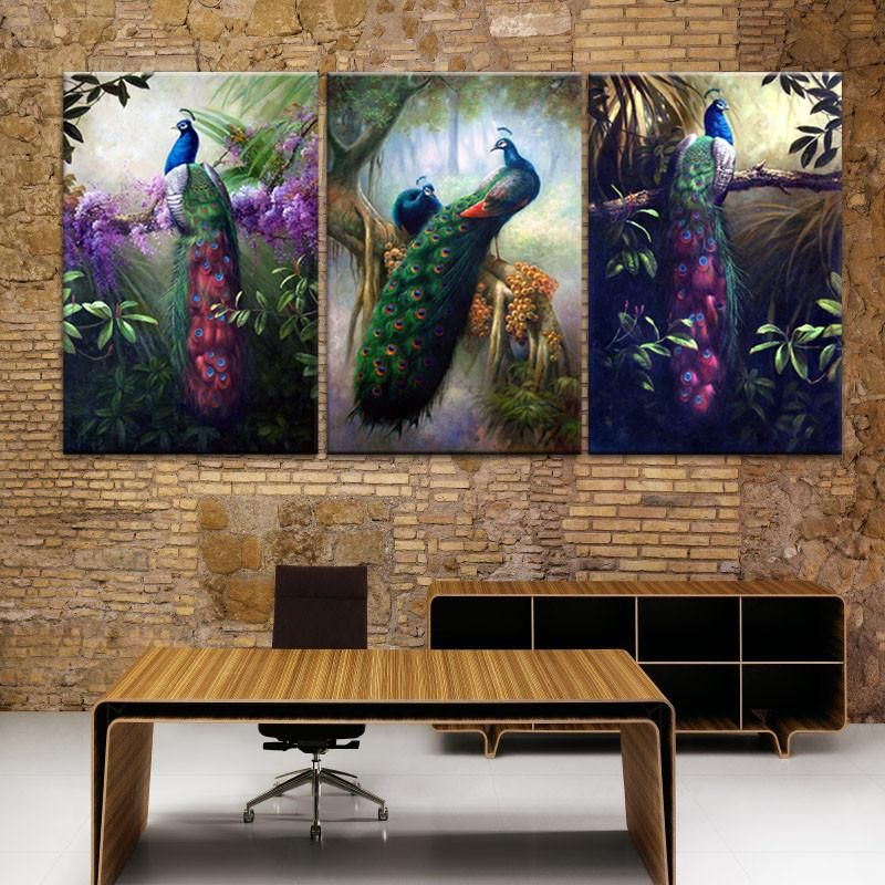 3Pcs Peacock Canvas Painting Art Wall Pictures Posters Prints Picture Home Decor