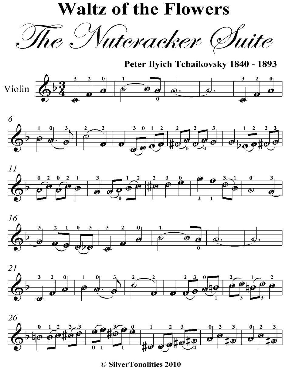 A Zwaltz Of The Flowers Nutcracker Suite Easy Violin Sheet Music