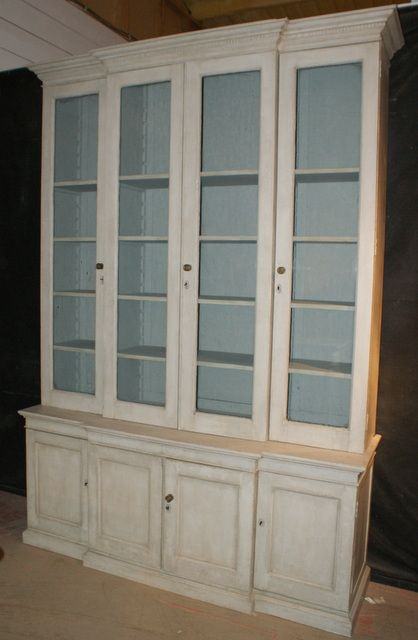 English Breakfront Bookcase 19th C Painted 1850