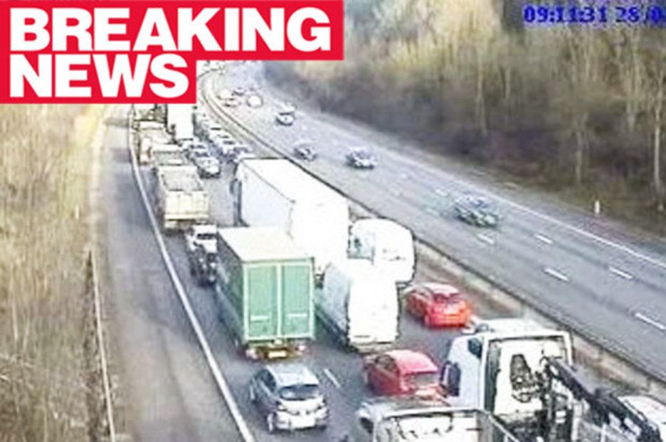 Sixcar pileup SHUTS busy M11 near Stansted Airport Car