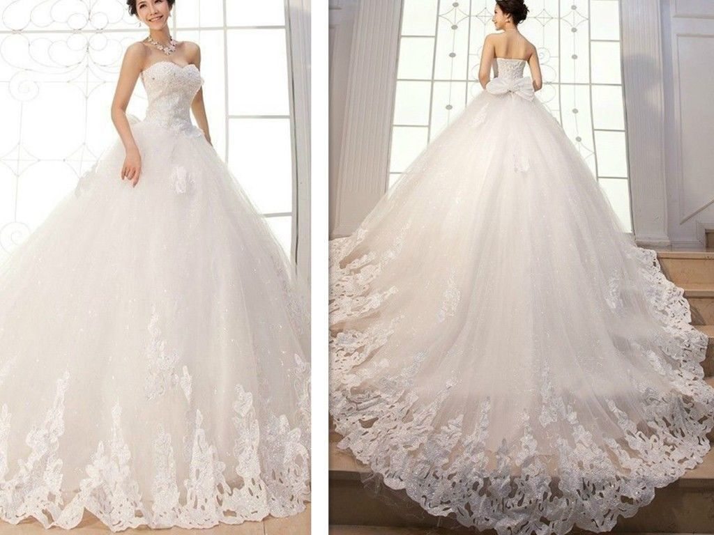 New Appliques Ball Gown Elegant Wedding Dresses Bridal Gowns Custom Long Tail: Fancy Ball Dresses Wedding At Reisefeber.org