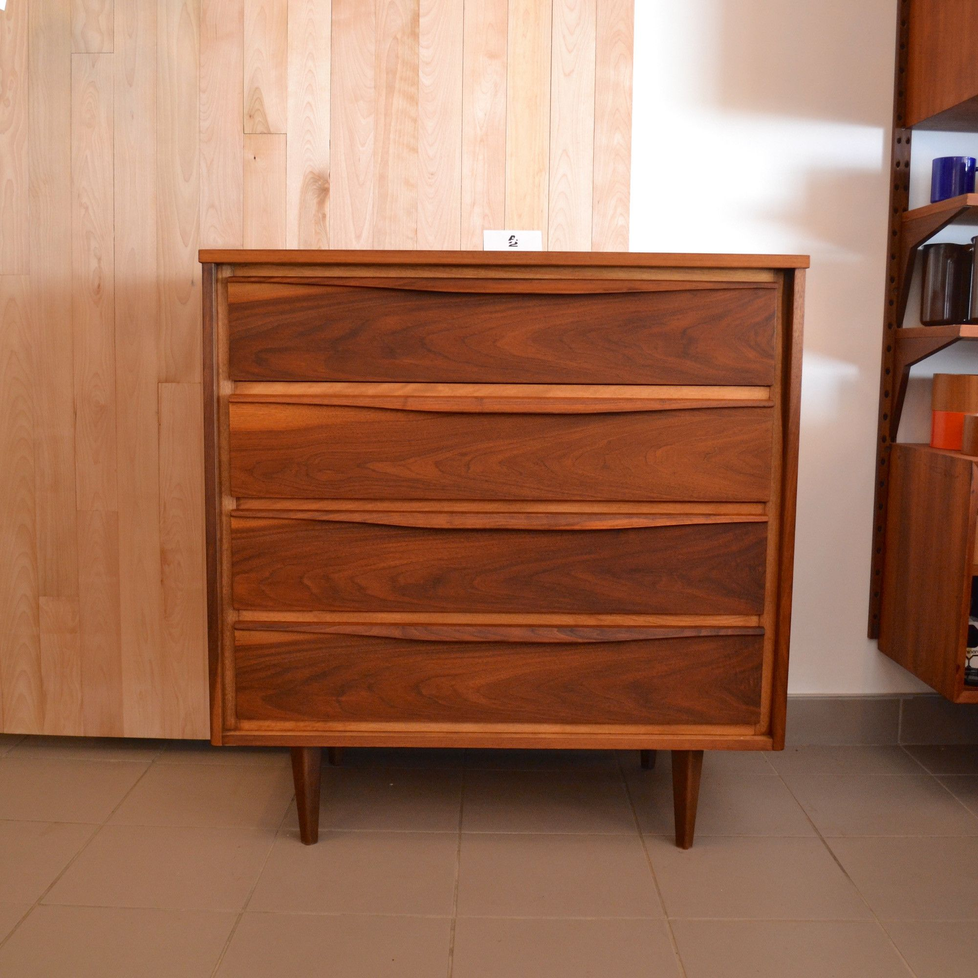 Mid Century Modern Commode En Noyer 9 Tiroirs Mobilier  # Buffet Vintage Suedois