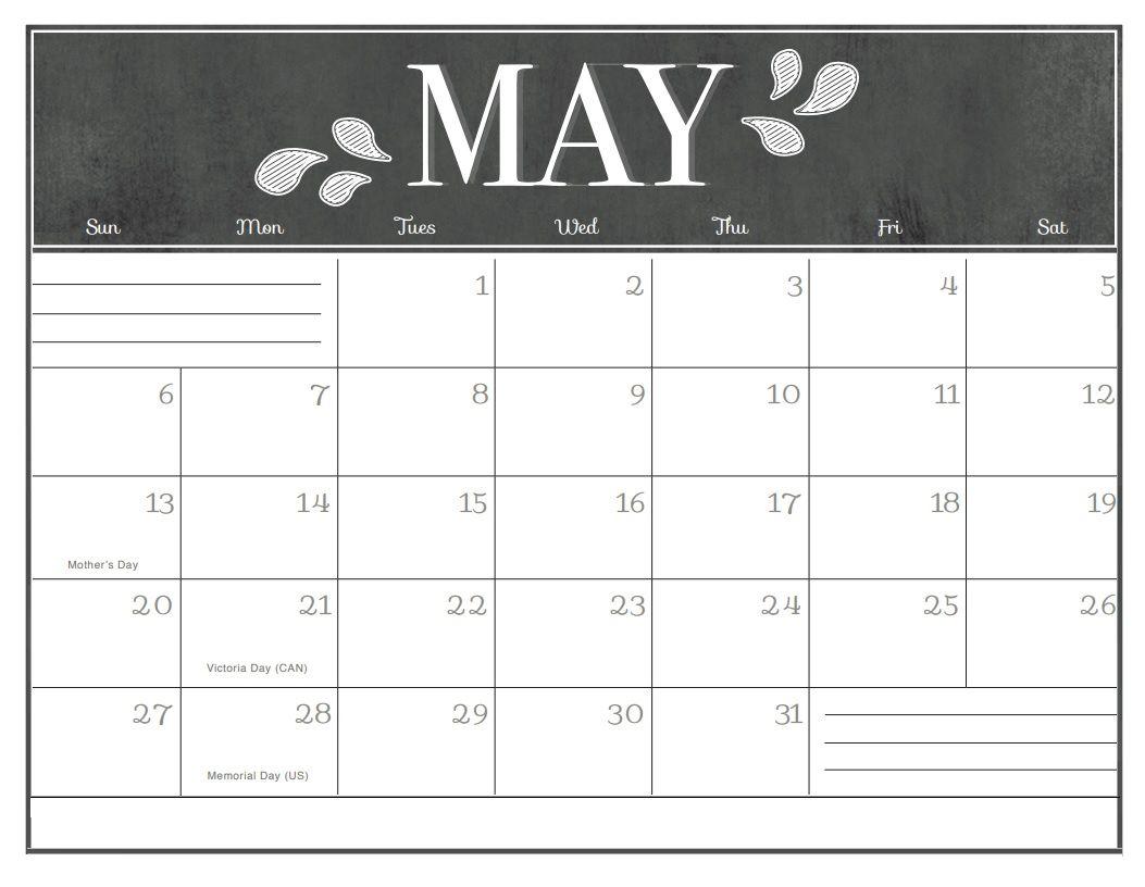May 2018 Chalkboard Calendar Chalkboard Calendar Calendar Printables Calendar