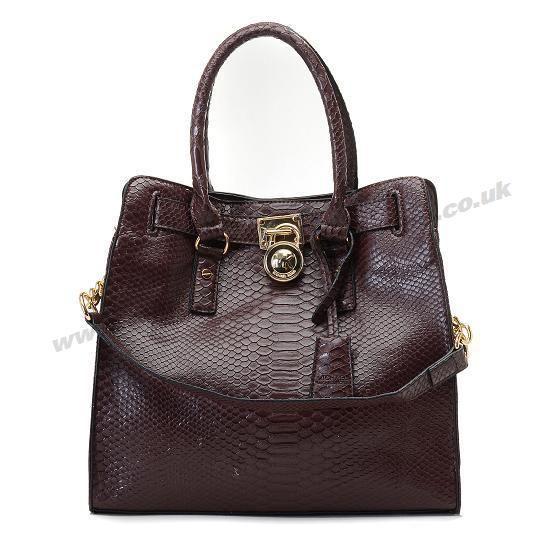 Michael Kors Hamilton Snakeskin Leather Bags Brown